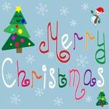 Frohe Weihnachten Bunte von Hand gezeichnete Buchstaben lizenzfreie abbildung