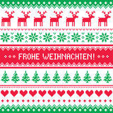 Frohe Weihnachten card - scandynavian christmas pattern Royalty Free Stock Image
