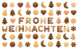 Frohe Weihnachten Cookies Wishes Royalty Free Stock Photos