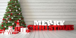 Frohe Weihnachten der Grußkarte mit Weihnachtsbaum und Geschenken auf hölzernem bacground Stockfoto