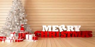 Frohe Weihnachten der Grußkarte mit Weihnachtsbaum und Geschenken auf hölzernem bacground Stockfotos