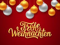 Frohe Weihnachten deutsch Merry Christmas card. Frohe Weihnachten deutsch Merry Christmas seasons greetings text on red background with gold and silver hanging Royalty Free Stock Images