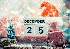 Frohe Weihnachten am 25. Dezember Stockfotografie