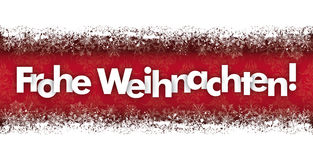 Frohe Weihnachten Double Snow Banner Wood Ornaments Royalty Free Stock Photos
