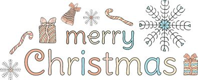 Frohe Weihnachten fahne Mehrfarbige Aufschrift, eine Glocke mit einem Bogen, Schneeflocken, Geschenke und Süßigkeitstöcke auf ein stock abbildung