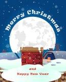 Frohe Weihnachten, Fahnendesign-Hintergrundsatz, Vektor illustrati Stockbild