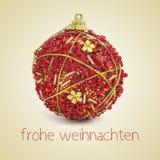 Frohe weihnachten, Feliz Navidad en alemán Fotografía de archivo libre de regalías