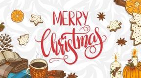 Frohe Weihnachten Festliche Illustration mit Beschriftung, Plätzchen, Decke, usw. lizenzfreie abbildung