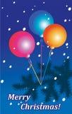 Frohe Weihnachten - Fliegenbälle lizenzfreie abbildung
