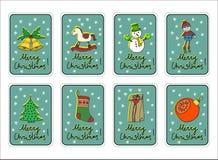 Frohe Weihnachten, fröhliche Feiertage, Gruß-Kartensatz des neuen Jahres mit Dekorationen Lizenzfreie Stockfotografie