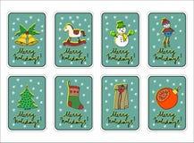 Frohe Weihnachten, fröhliche Feiertage, Gruß-Kartensatz des neuen Jahres mit Dekorationen Lizenzfreies Stockfoto