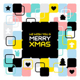 Frohe Weihnachten, geometrischer abstrakter Hintergrund, Plakat, Themamuster Lizenzfreies Stockfoto