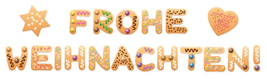 Frohe Weihnachten German Christmas Cookies Stock Photography