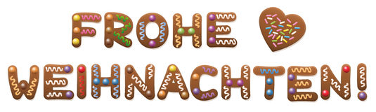 Frohe Weihnachten German Gingerbread Royalty Free Stock Images