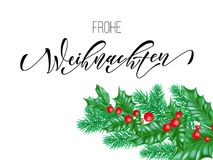 Frohe Weihnachten German Merry Christmas calligraphy font on white premium background for winter Xmas holiday design template. Vec. Tor Christmas tree holly Royalty Free Stock Photo
