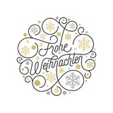 Frohe Weihnachten German Merry Christmas calligraphy lettering and golden snowflake pattern on white background for greeting card. Design. Vector golden Stock Photo