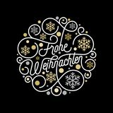 Frohe Weihnachten German Merry Christmas calligraphy lettering and golden snowflake pattern on white background for greeting card. Design. Vector golden Royalty Free Stock Photo