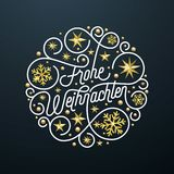 Frohe Weihnachten German Merry Christmas calligraphy lettering and golden snowflake star pattern decoration on white background fo. R greeting card. Vector Stock Images