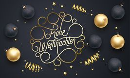 Frohe Weihnachten German Merry Christmas flourish golden calligraphy lettering of swash gold typography greeting card design. Vect. Or golden decoration and Royalty Free Stock Photo