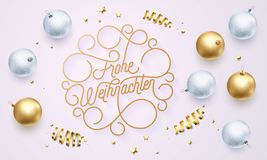 Frohe Weihnachten German Merry Christmas flourish golden calligraphy lettering of swash gold typography greeting card design. Vect. Or golden decoration and Stock Images