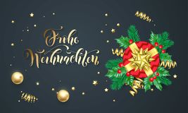Frohe Weihnachten German Merry Christmas. Golden calligraphy and gold decoration greeting card design. Vector Christmas tree wreath decoration, New Year holiday Stock Image