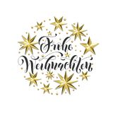 Frohe Weihnachten German Merry Christmas golden decoration, calligraphy font. For Xmas invitation greeting card white background. Vector Christmas or New Year Stock Photos