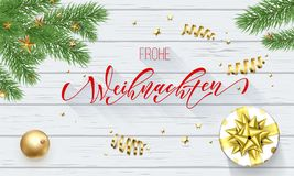 Frohe Weihnachten German Merry Christmas golden decoration and calligraphy font on white wooden background for greeting card. Vect. Or Christmas or New Year gold Stock Images