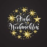 Frohe Weihnachten German Merry Christmas golden decoration, calligraphy font for Xmas invitation greeting card white background. V. Ector Christmas or New Year Royalty Free Stock Images