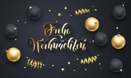 Frohe Weihnachten German Merry Christmas golden decoration, hand drawn calligraphy golden font on black festive background. Vector. Christmas or New Year Stock Images