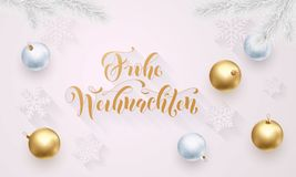 Frohe Weihnachten German Merry Christmas golden decoration, hand drawn calligraphy golden font on white festive background. Vector. Christmas or New Year Stock Photos