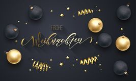 Frohe Weihnachten German Merry Christmas golden decoration, hand drawn gold calligraphy font for greeting card black background. V. Ector Christmas, New Year Stock Photos