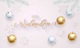 Frohe Weihnachten German Merry Christmas golden decoration, hand drawn gold calligraphy font for greeting card white background. V. Ector Christmas, New Year Stock Photos