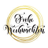 Frohe Weihnachten German Merry Christmas greeting card golden glitter decoration Royalty Free Stock Images