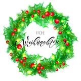 Frohe Weihnachten German Merry Christmas hand drawn quote calligraphy and Christmas holly wreath for holiday greeting card backgro. Und template. Vector New Year Royalty Free Stock Photography