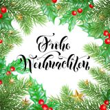 Frohe Weihnachten German Merry Christmas hand drawn quote calligraphy and Christmas holly wreath for holiday greeting card backgro. Und template. Vector New Year Stock Images