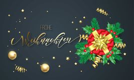 Frohe Weihnachten German Merry Christmas holiday golden calligraphy on gold decoration greeting card template. Vector Christmas tr. Ee holly wreath decoration Royalty Free Stock Photos