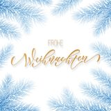 Frohe Weihnachten German Merry Christmas holiday golden hand drawn calligraphy for greeting card of frozen ice snow decoration and. Christmas garland. Vector Stock Images