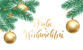 Frohe Weihnachten German Merry Christmas holiday golden hand drawn calligraphy for greeting card of gold star ornament decoration. Vector Christmas winter Royalty Free Stock Photo