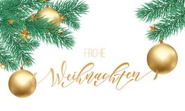 Frohe Weihnachten German Merry Christmas holiday golden hand drawn calligraphy text for greeting card of Christmas branch and deco. Ration ornament. Vector Royalty Free Stock Photo
