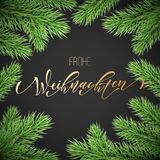 Frohe Weihnachten German Merry Christmas holiday golden hand drawn calligraphy text for greeting card of wreath decoration and Chr. Istmas garland frame. Vector Royalty Free Stock Images