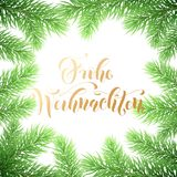 Frohe Weihnachten German Merry Christmas holiday golden hand drawn calligraphy text for greeting card of wreath decoration and Chr. Istmas garland frame. Vector Stock Photos