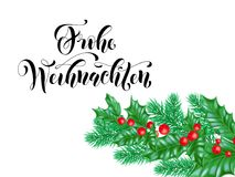 Frohe Weihnachten German Merry Christmas holiday hand drawn calligraphy lettering greeting card background template. Vector Christ. Mas tree pine or fir and Stock Images