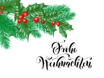 Frohe Weihnachten German Merry Christmas holiday hand drawn calligraphy text for greeting card of wreath decoration and Christmas. Branch ornament. Vector Royalty Free Stock Photos