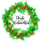 Frohe Weihnachten German Merry Christmas holiday hand drawn calligraphy text for greeting card of wreath decoration and Christmas. Lights garland frame. Vector Royalty Free Stock Photography