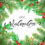 Frohe Weihnachten German Merry Christmas holiday hand drawn calligraphy text for greeting card of wreath decoration and Christmas. Stars garland frame. Vector Royalty Free Stock Photo