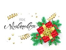 Frohe Weihnachten German Merry Christmas holiday hand drawn quote calligraphy greeting card background template. Vector Christmas. Tree holly wreath decoration Royalty Free Stock Image