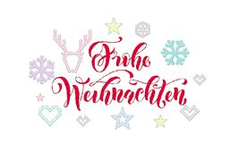 Frohe Weihnachten German Merry Christmas knitted calligraphy font decoration for holiday greeting card design. Vector Christmas de. Er, snowflake decoration Stock Images