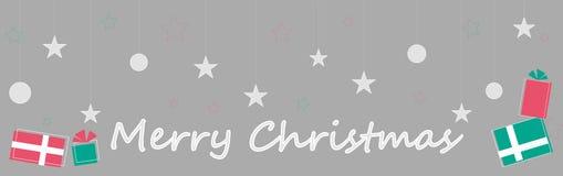 Frohe Weihnachten Geschenke, Schneebälle, Sterne lizenzfreie abbildung