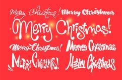 Frohe Weihnachten Glückliches neues Jahr Handgeschriebene moderne Bürstenbeschriftung, Typografiesatz vektor abbildung