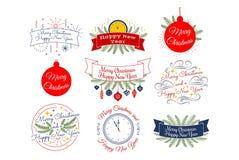 Frohe Weihnachten Glückliches neues Jahr Typografische Ausweissammlung lizenzfreies stockfoto